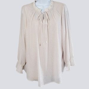 CJ Banks Ruffle Neck Silver Dots Tie Front Top